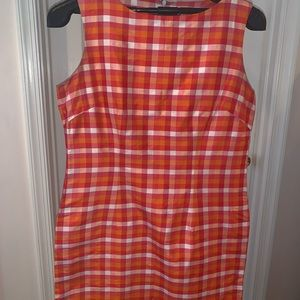 Dresses & Skirts - Silk form fitted dress in pink, orange check Sz12